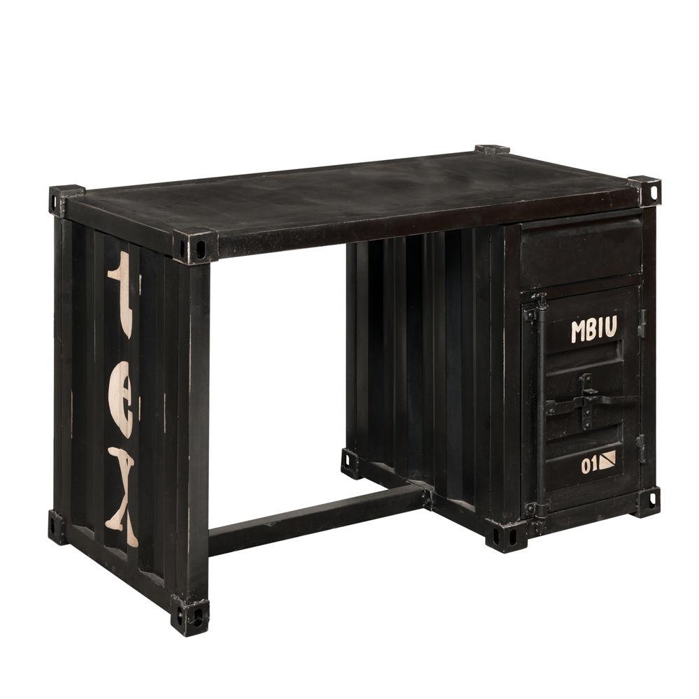 Bureau container en métal noir L 123 cm Carlingue  Maisons du Monde -> Meuble Carlingue