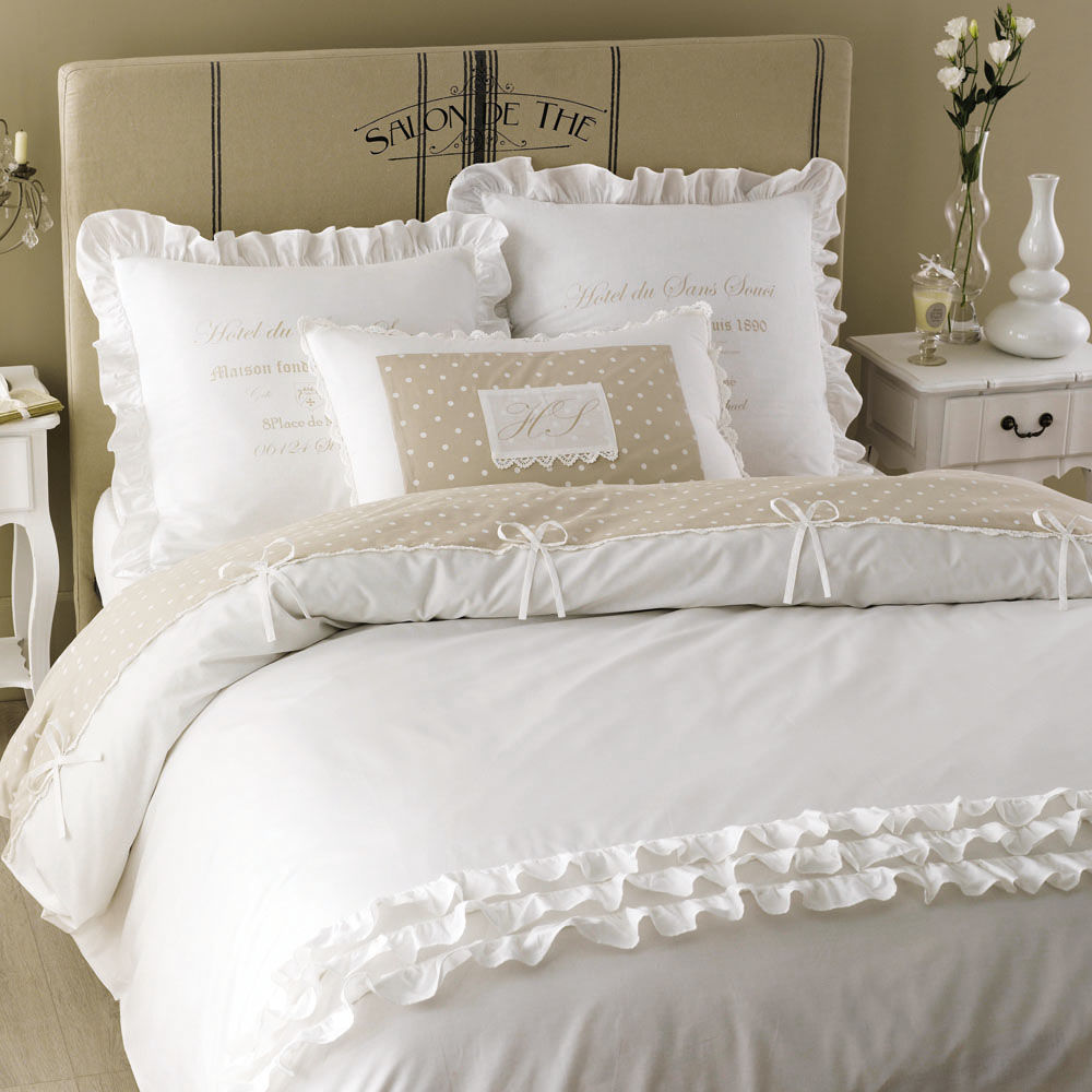parure de lit 220 x 240 cm en coton blanche sans souci. Black Bedroom Furniture Sets. Home Design Ideas