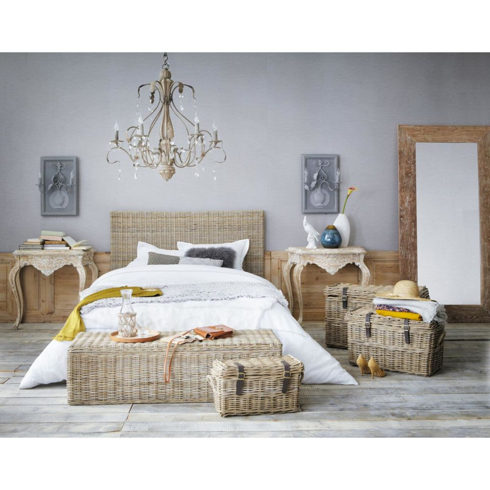 Tête de lit en rotin Kubu et mahogany massif L 154 cm Ke