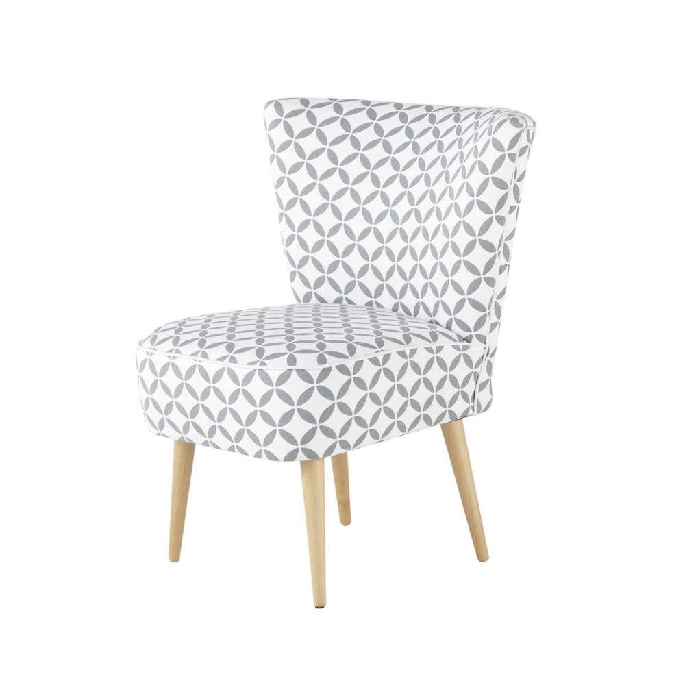 Fauteuil vintage motifs en coton gris et blanc scandinave maisons du monde - Petit fauteuil vintage ...