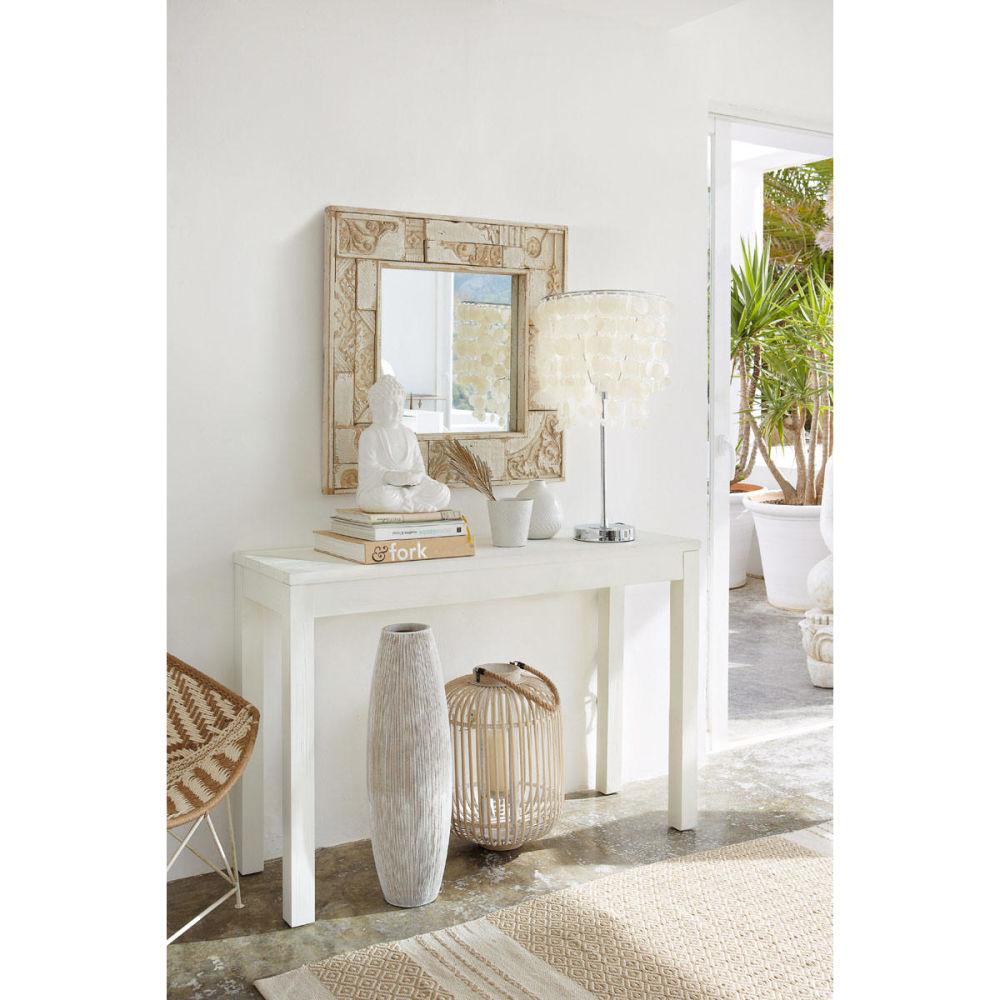 Table Console En Bois Massif Blanche L 120 Cm White