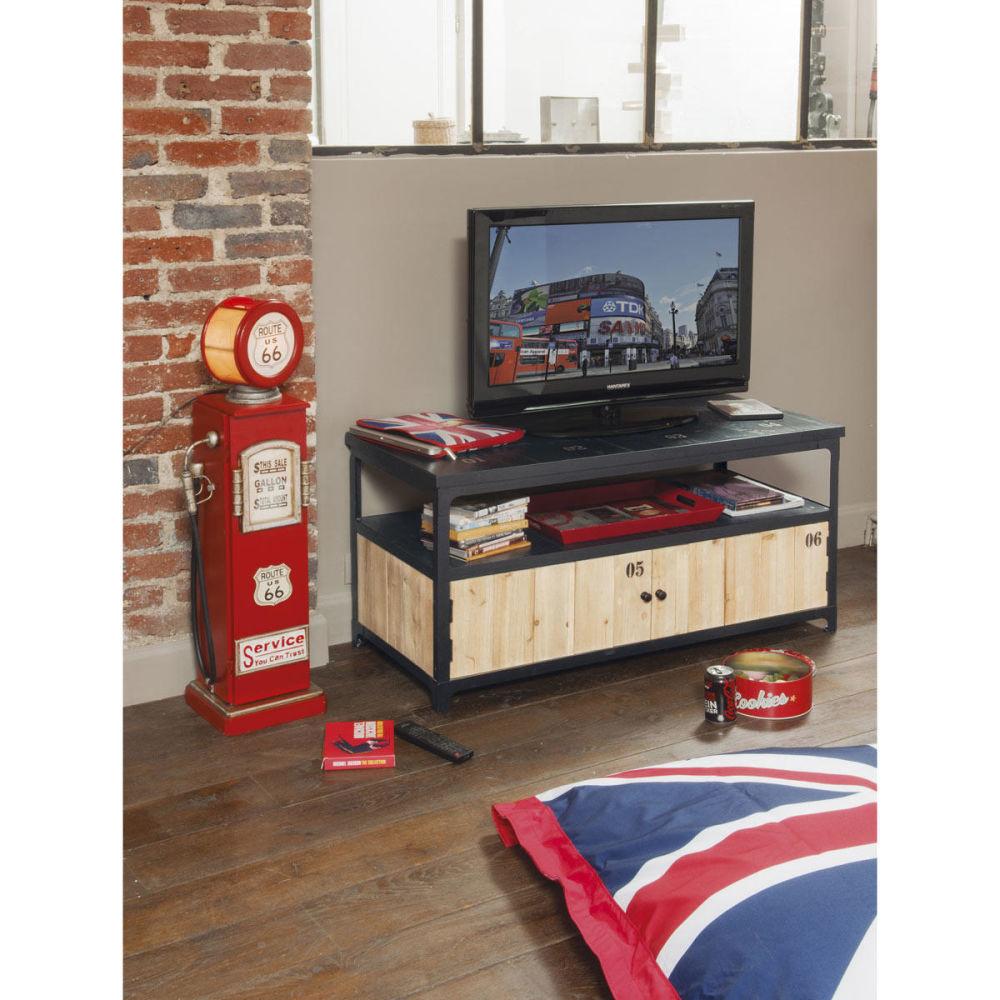Lampe range cd en m tal et bois rouge h 95 cm route 66 maisons du monde - Maison du monde range cd ...