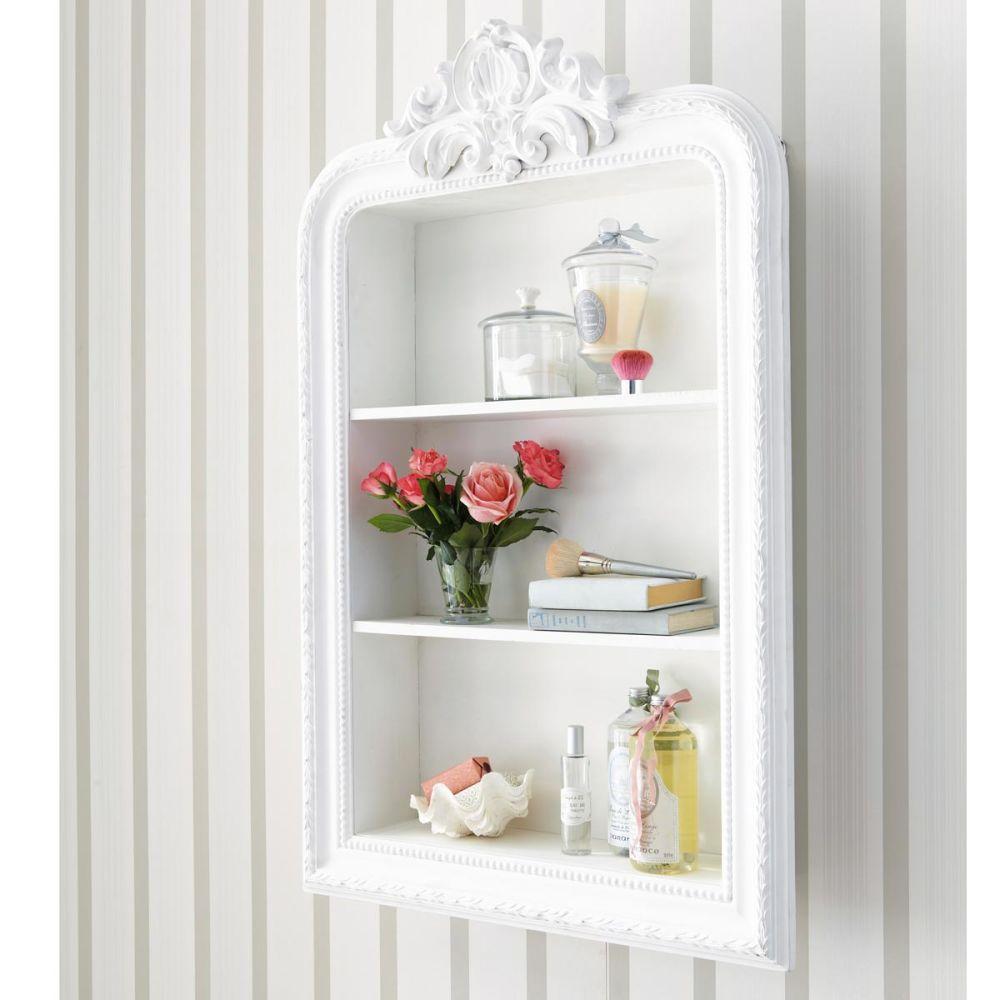 Tag re sculpt e en bois blanche l 79 cm romantique maisons du monde - Maison du monde etagere ...