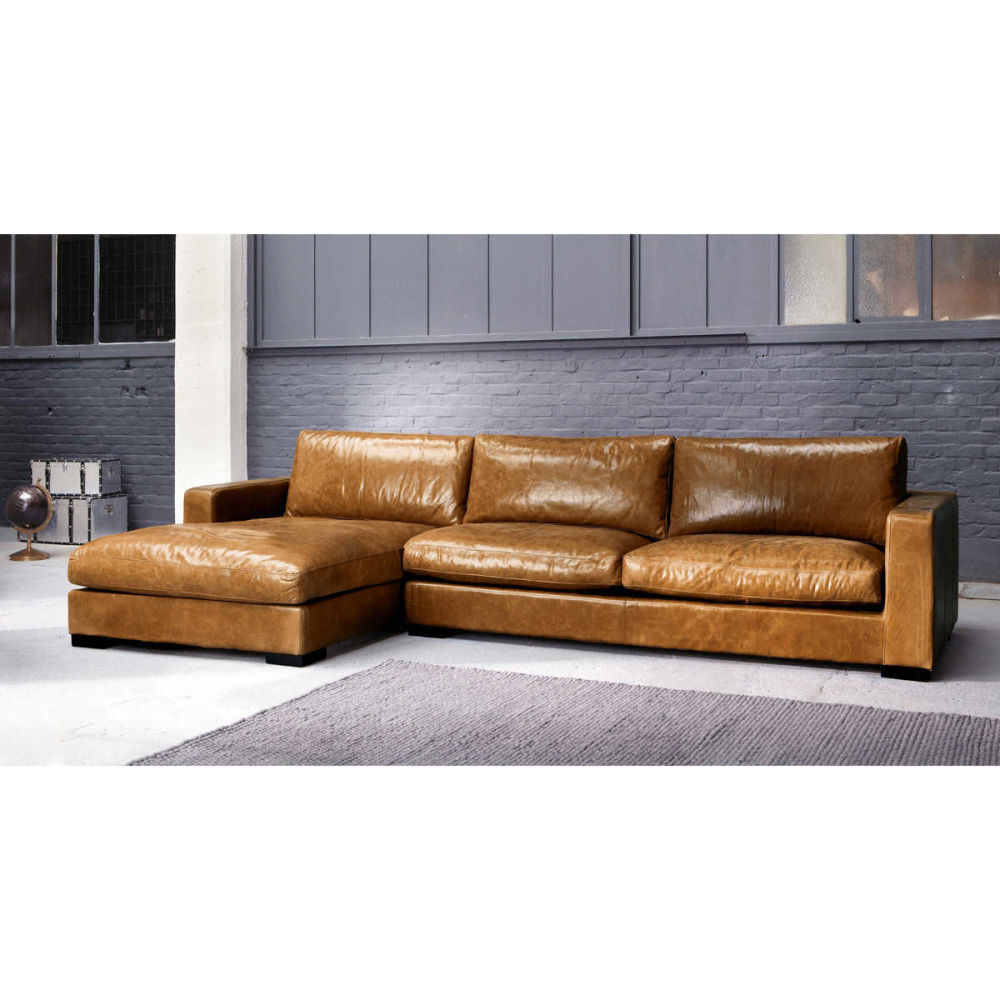 Vintage Brown Leather Sectional Corner Sofa Seats 5