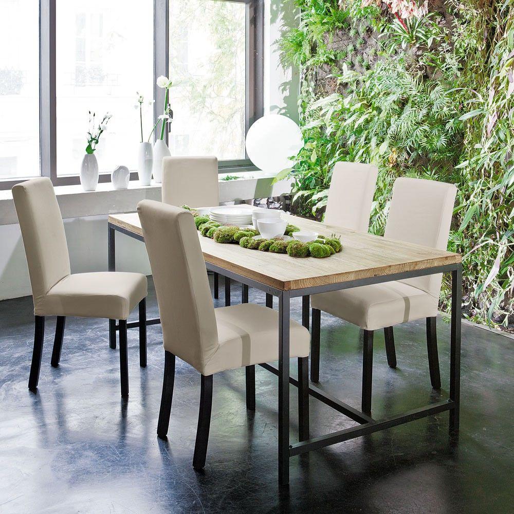 chaise en tissu et bois ivoire margaux maisons du monde. Black Bedroom Furniture Sets. Home Design Ideas