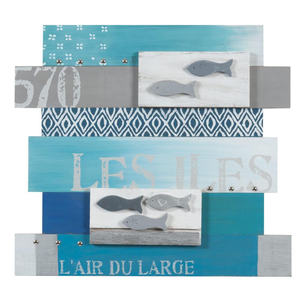 Tableau lattes en bois bleu 45 x 50 cm mer des les for Salle de bain theme mer