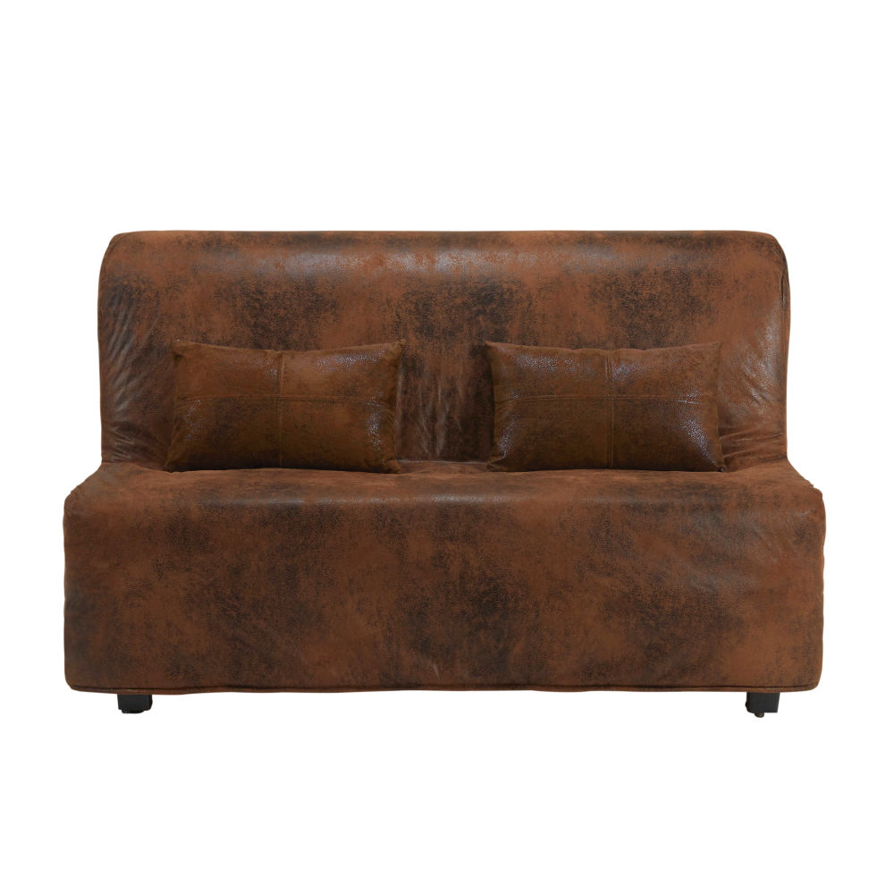 Brown microsuede futon sofa bed cover Elliot