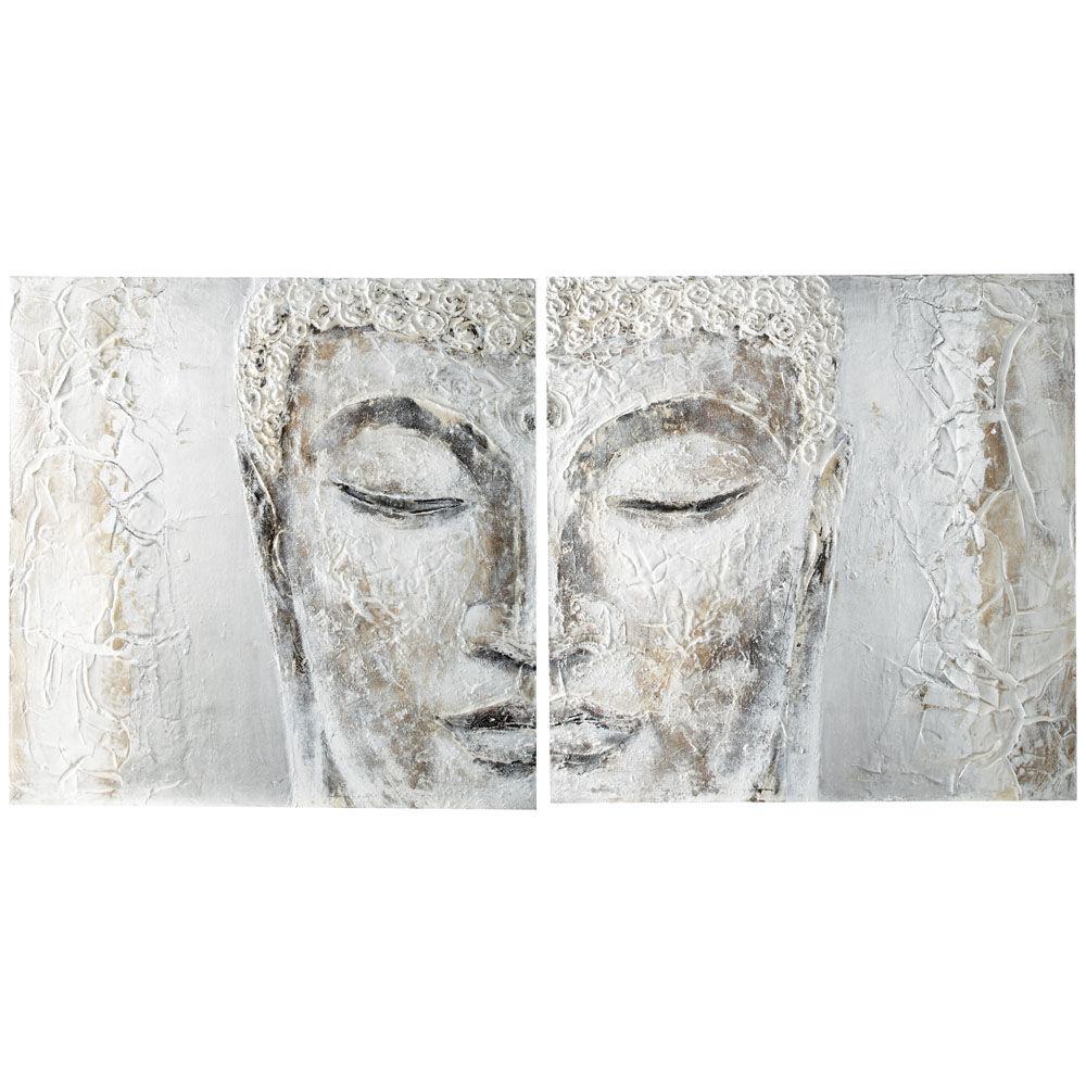 ... Décoration › Décoration murale › Toile Diptyque Silver Bouddha