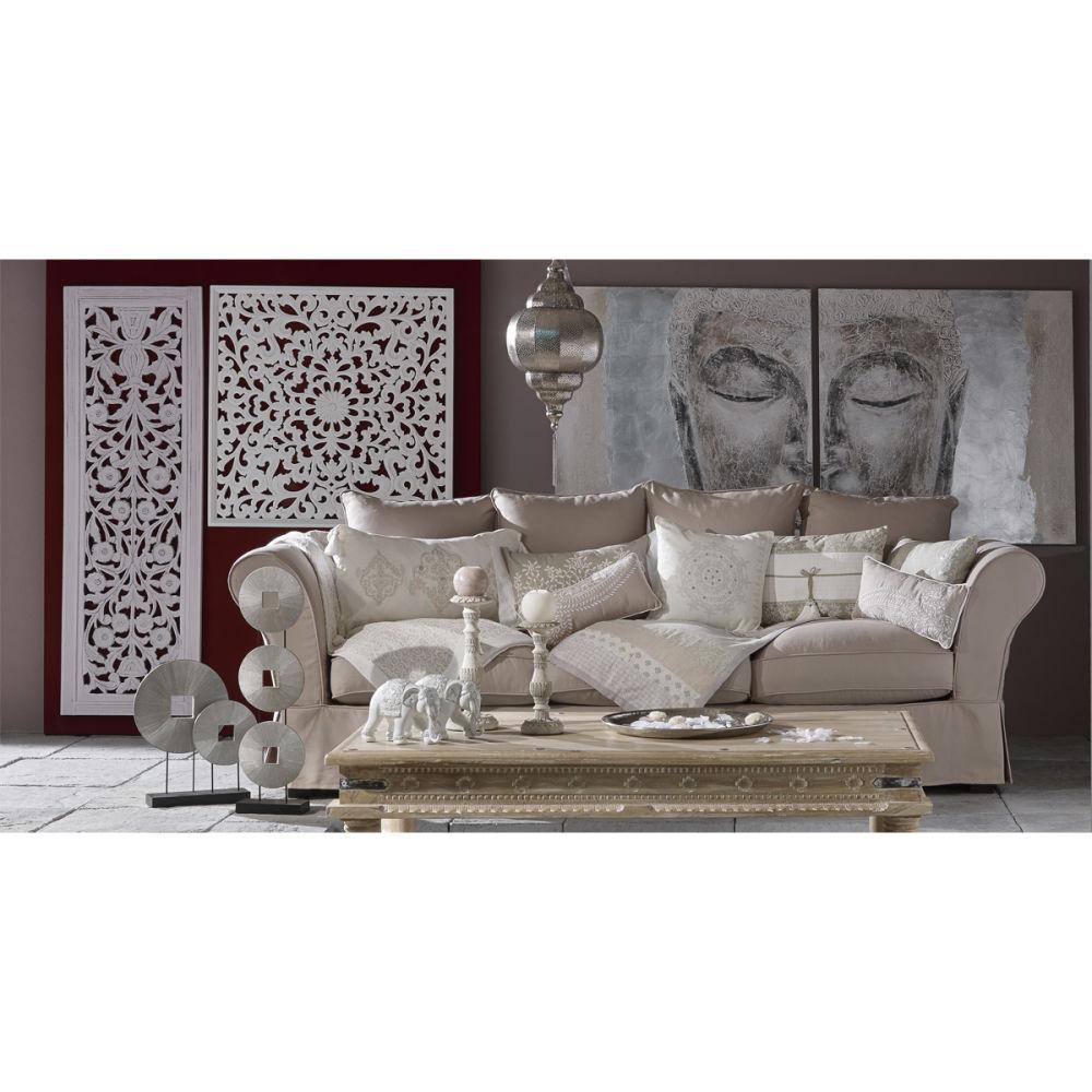 Toile diptyque peinte main argent e 97 x 194 cm silver bouddha maisons du m - Decoration murale lumineuse ...