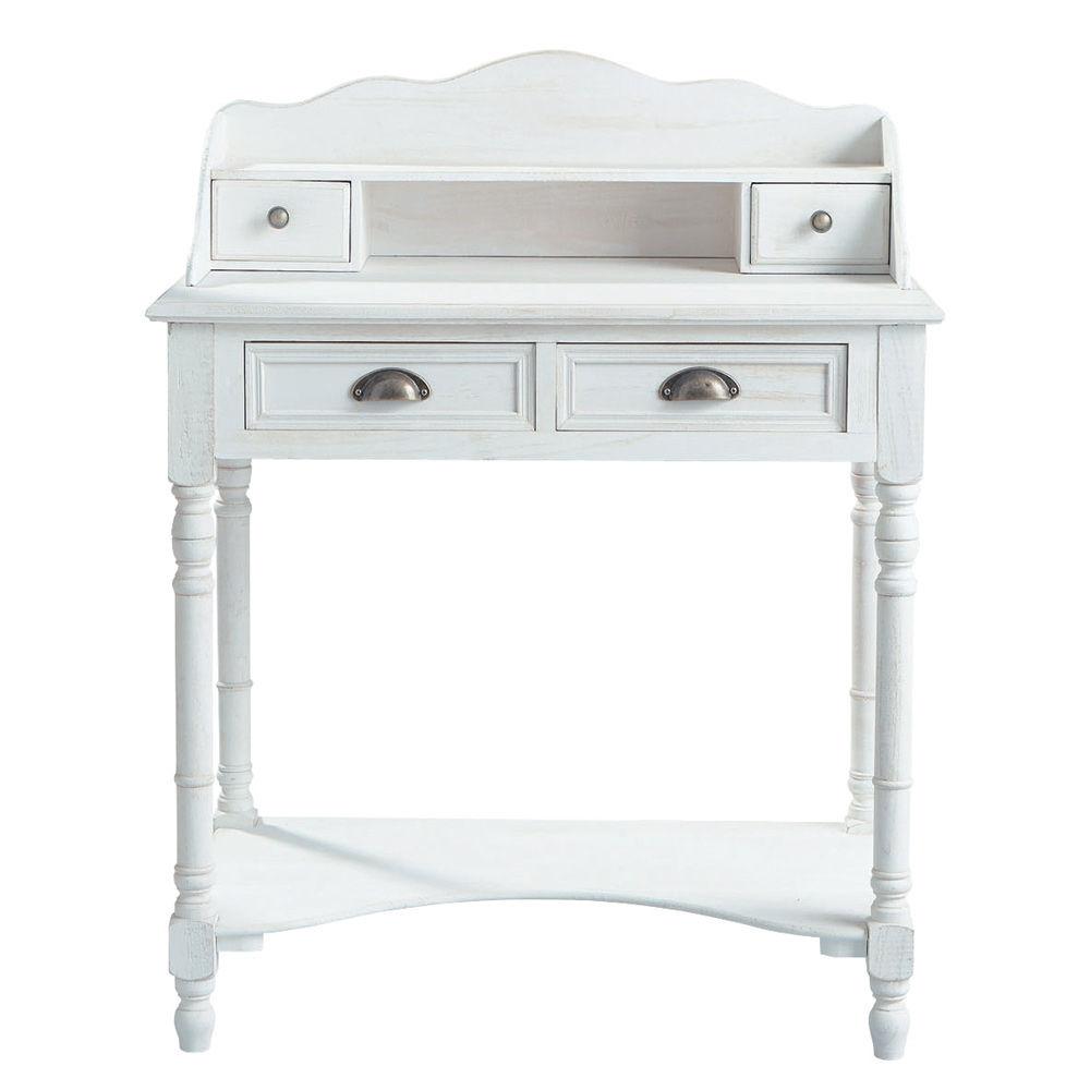 Bureau secr taire en bois blanc l 80 cm jos phine for Meuble josephine maison du monde