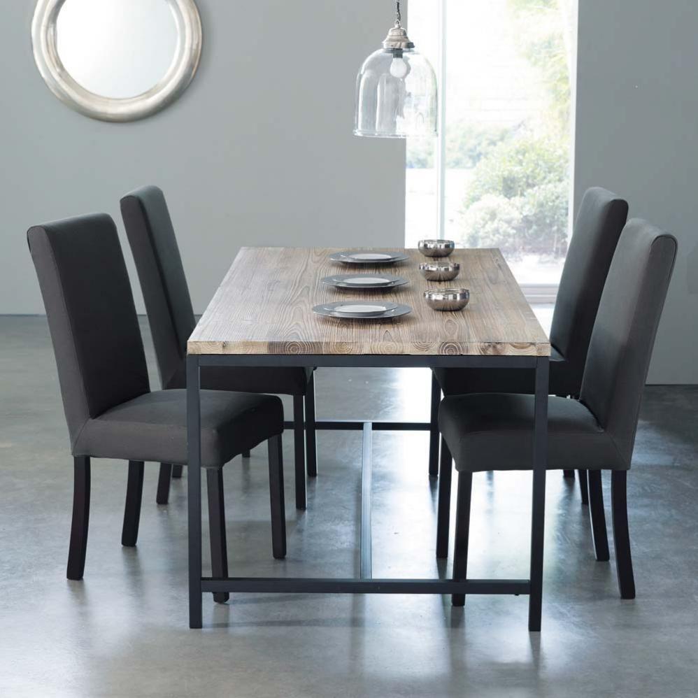 Table de salle manger indus en bois massif et m tal l for Maison du monde table haute