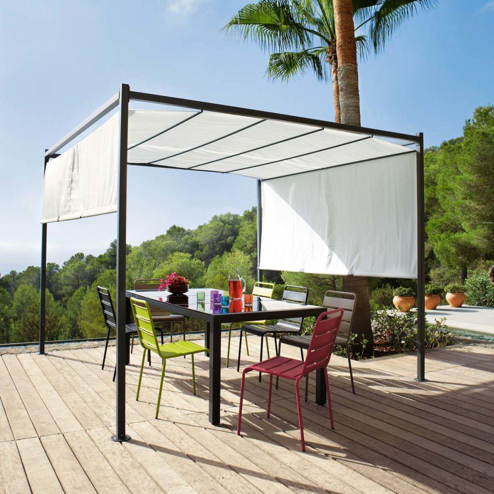 tonnelle de jardin en coton crue h 220 cm malaga. Black Bedroom Furniture Sets. Home Design Ideas