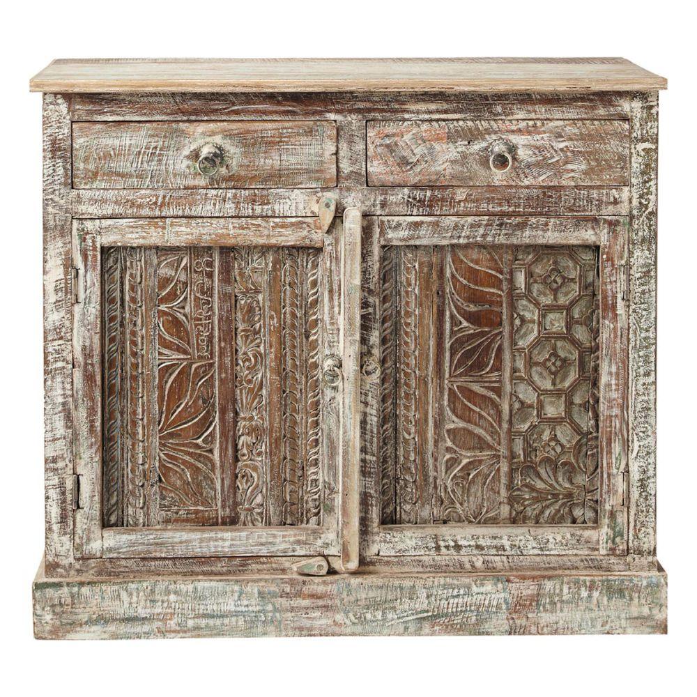 Buffet indien sculpt en bois recycl l 95 cm karma maisons du monde - Decoratie mansard kamer volwassene ...