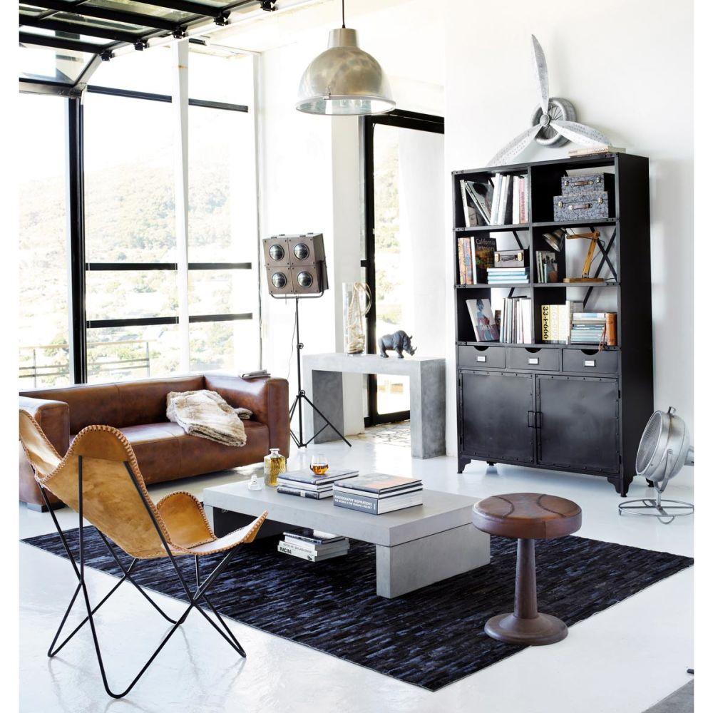 Table basse en fibre de verre effet b ton gris clair l 130 - Maison du monde table beton ...