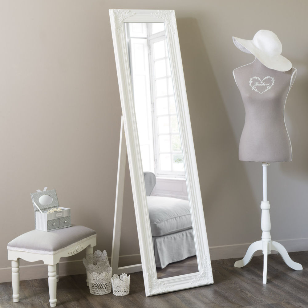 miroir psych en bois blanc h 164 cm enzo maisons du monde. Black Bedroom Furniture Sets. Home Design Ideas