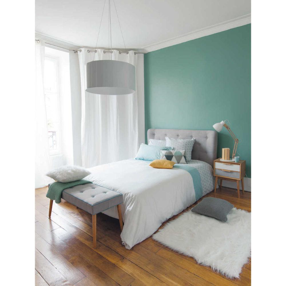 t te de lit capitonn e vintage en tissu grise l 140 cm. Black Bedroom Furniture Sets. Home Design Ideas