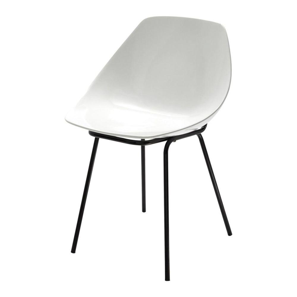 Chaise guariche en fibre de verre et m tal blanche for Housses de chaises blanches