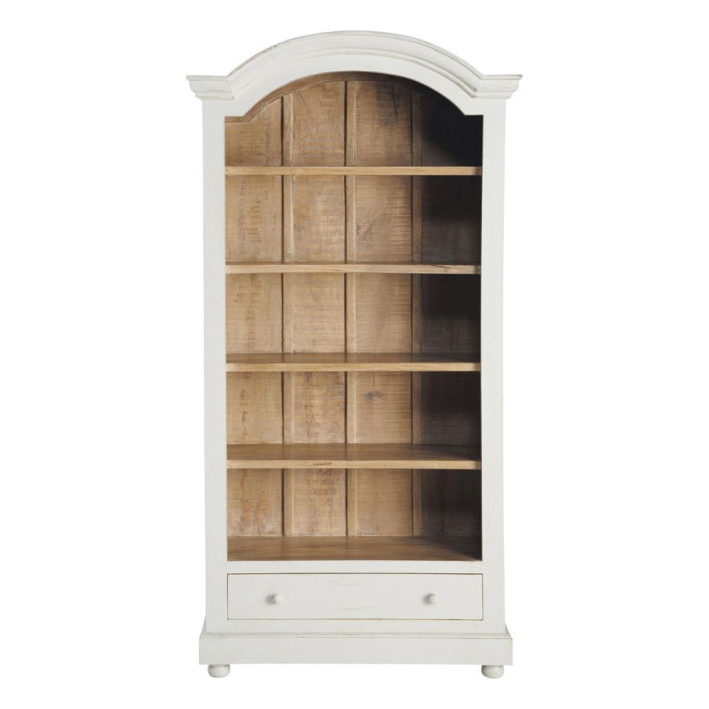 Biblioth que en manguier massif blanche l 100 cm am lie maisons du monde - Bibliotheque maison du monde ...