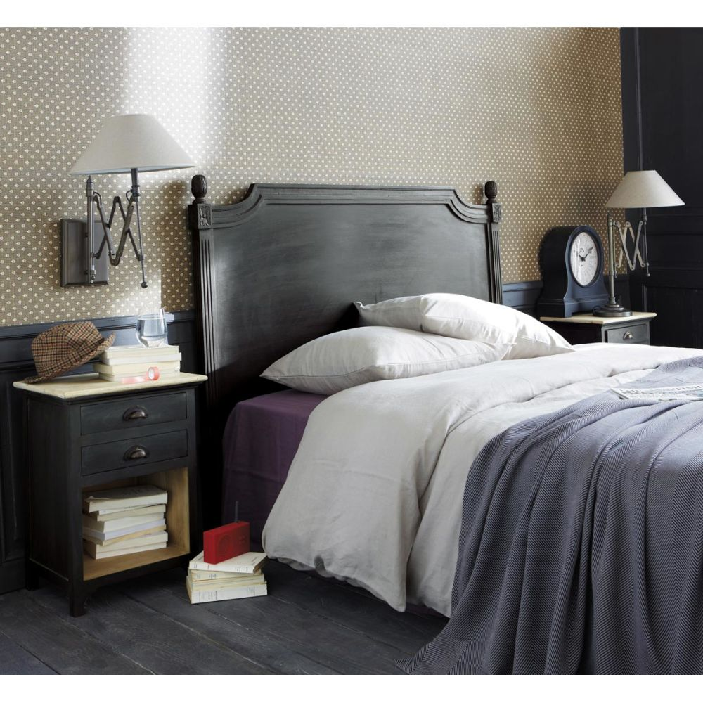 T te de lit 170 bois gris anthracite chenonceau maisons du monde - Tete de lit bois gris ...