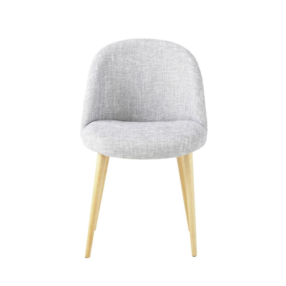 Chaise vintage en bouleau massif et tissu gris chin - Maison du monde coussin de chaise ...