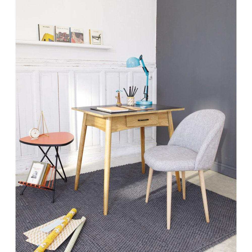 Chaise vintage en bouleau massif et tissu gris chin mauricette maisons du - Maison du monde vintage ...