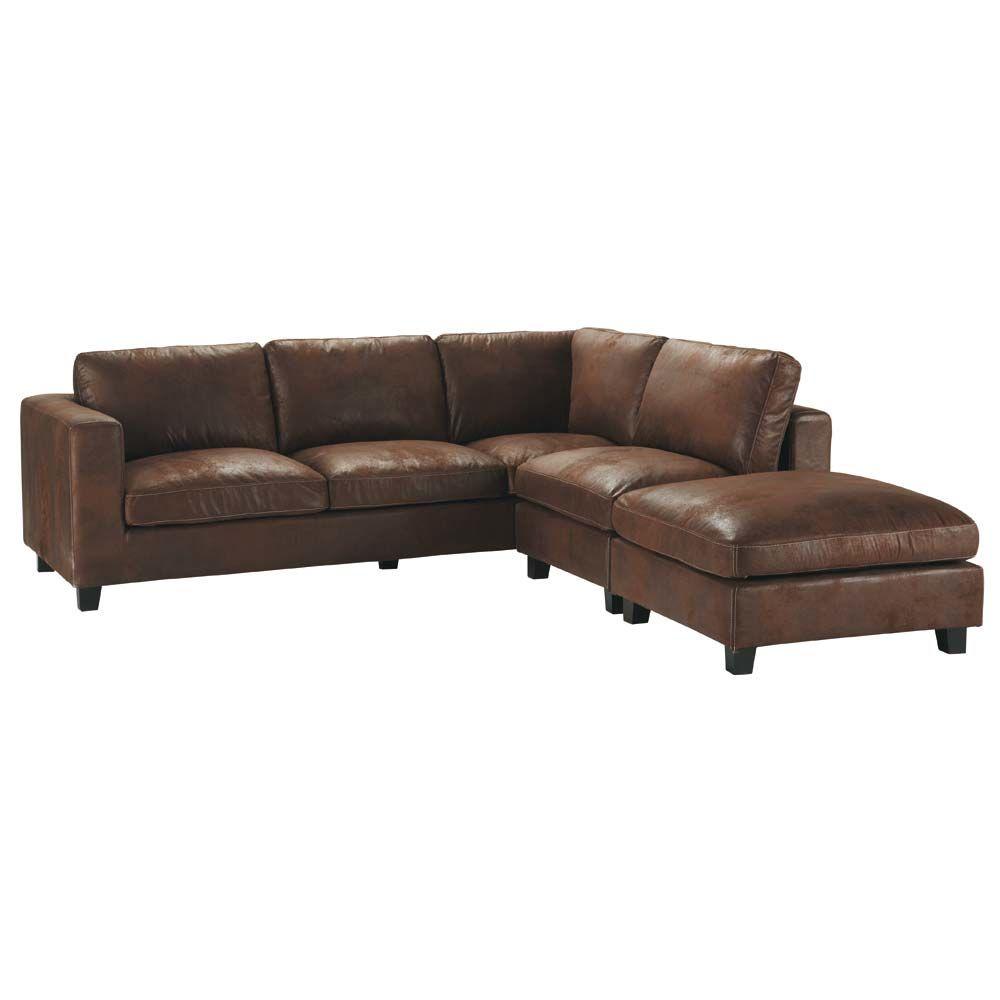 charming canape d angle cuir vieilli marron 5 maisons du. Black Bedroom Furniture Sets. Home Design Ideas
