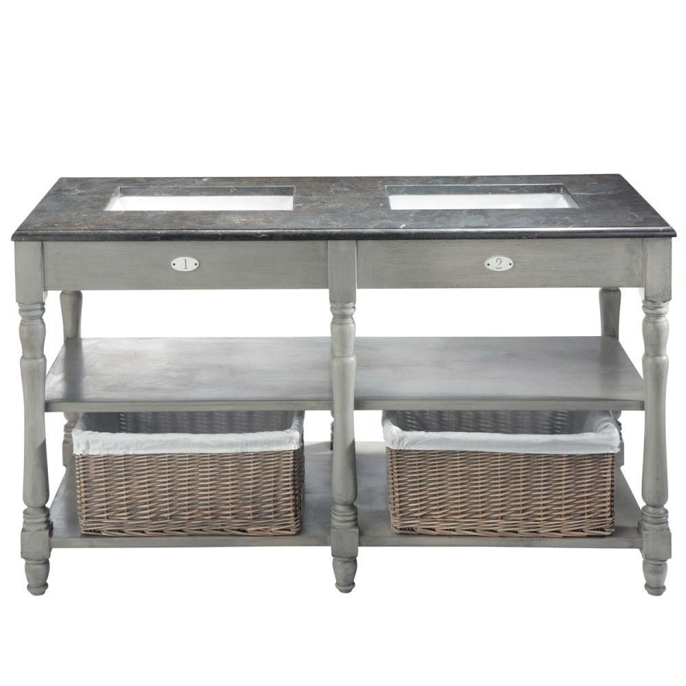 mobile grigio in betulla e marmo per doppio lavandino l 156 cm st rmy maisons du monde