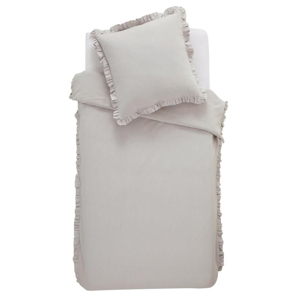 Housse couette grise parure de lit romantique grise c for Taille housse de couette lit 2 personnes