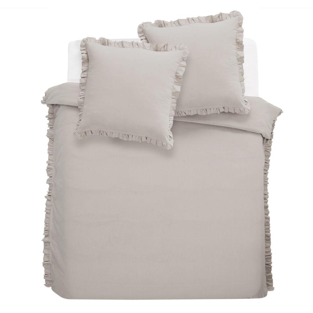 parure housse de couette enfant grise anais 240x220. Black Bedroom Furniture Sets. Home Design Ideas