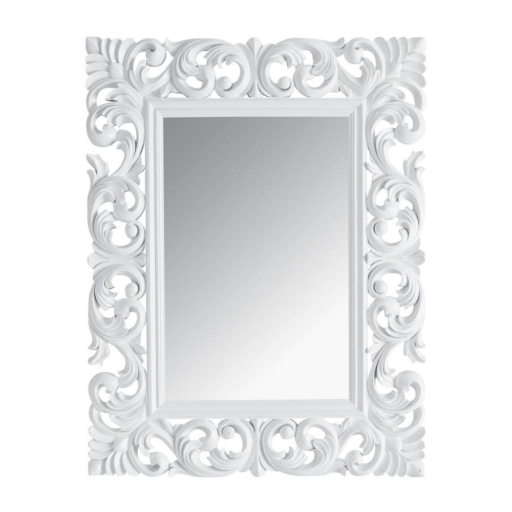 Miroir rivoli blanc 90x70 maisons du monde for Petit miroir blanc