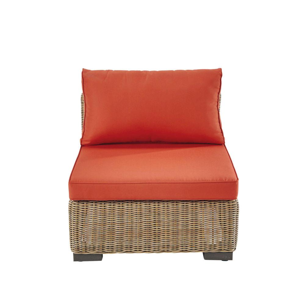 finest chauffeuse de jardin en rsine tresse et tissu brique fidji maisons du monde with. Black Bedroom Furniture Sets. Home Design Ideas