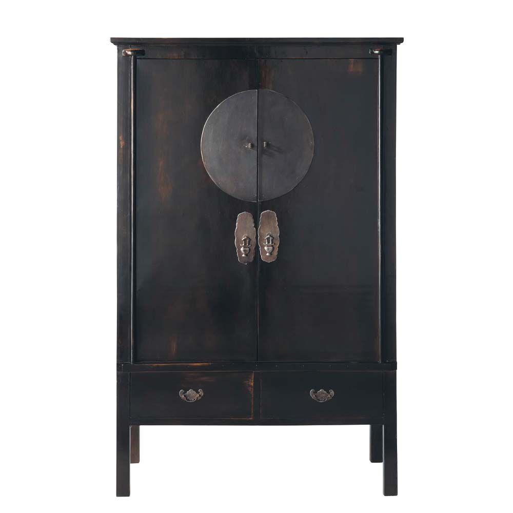Armoire en orme recycl noire l 117 cm shangha maisons du monde - Meuble style asiatique ...