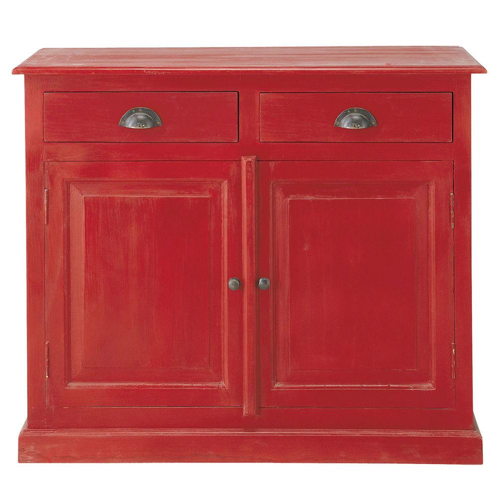 Buffet de cuisine rouge gascogne maisons du monde - Buffet de cuisine rouge ...