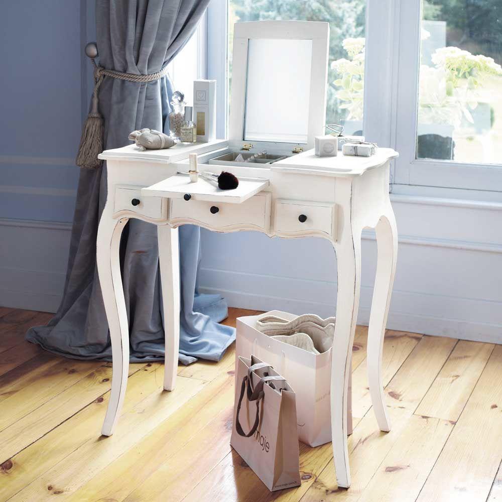 coiffeuse en bois blanche l 70 cm mathilde maisons du monde. Black Bedroom Furniture Sets. Home Design Ideas