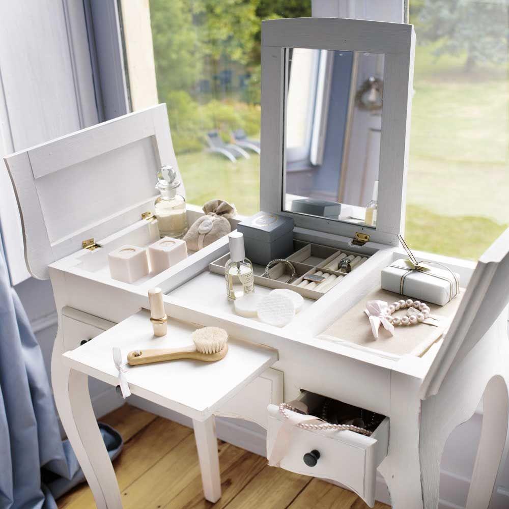 Coiffeuse en bois blanche l 70 cm mathilde maisons du monde - La table de mathilde ...