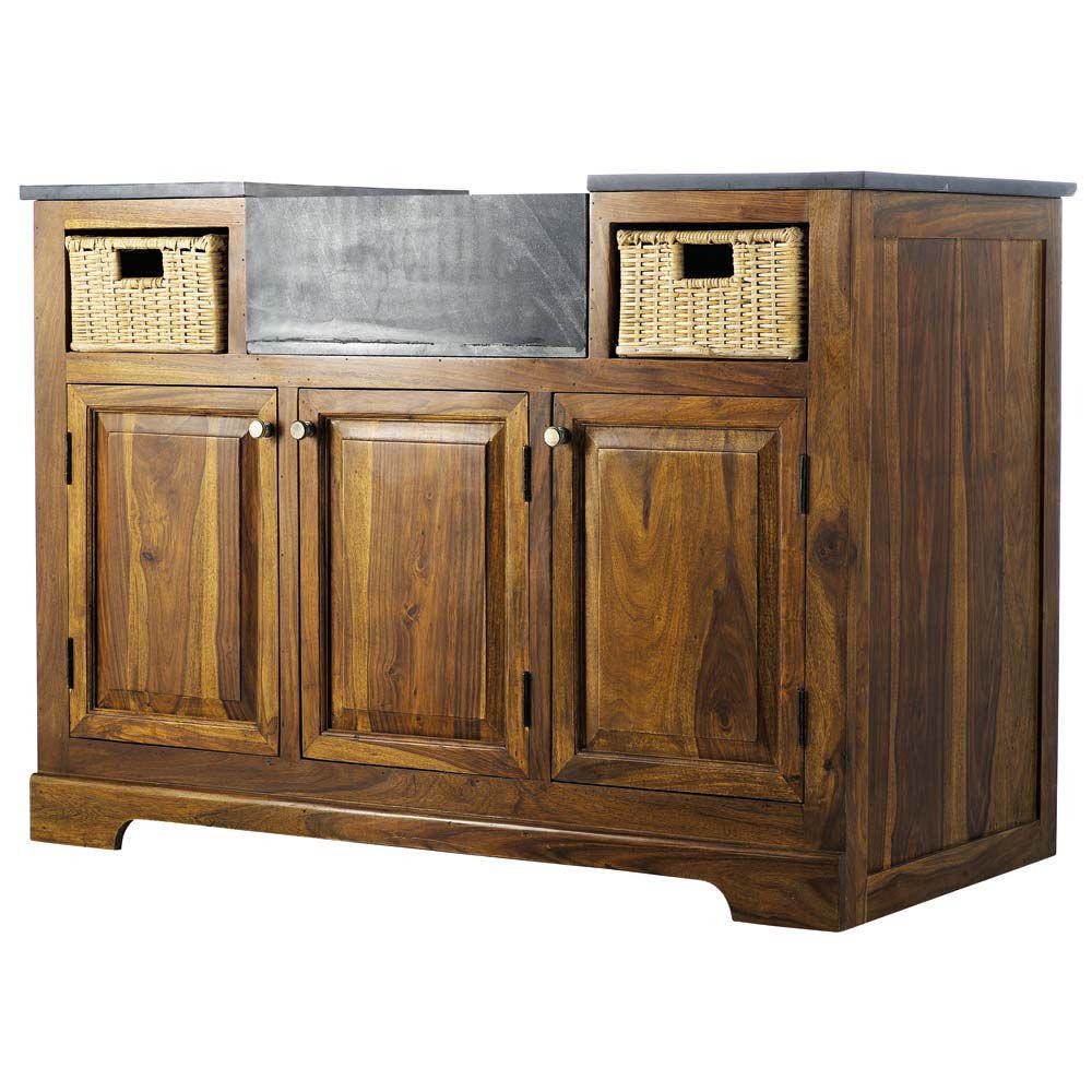 excellent meuble bas de cuisine en bois de sheesham massif l cm luberon maisons du monde with. Black Bedroom Furniture Sets. Home Design Ideas