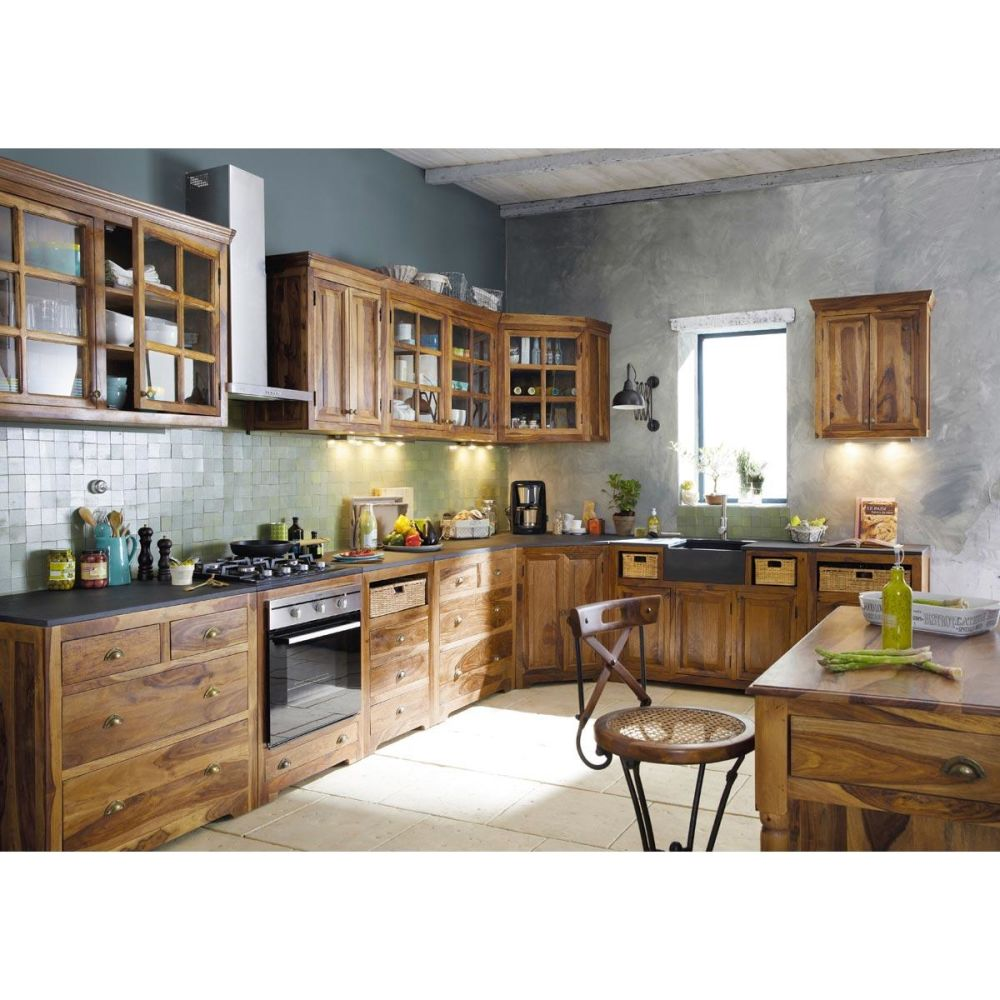 Meuble bas de cuisine en bois de sheesham massif L 120 cm Luberon  Maisons d -> Meubles Luberon