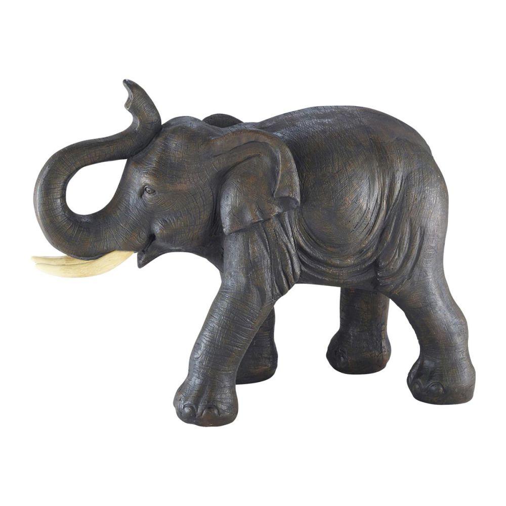 Statue l phant en r sine grise h 36 cm cumba maisons du for Bibelot decoration maison