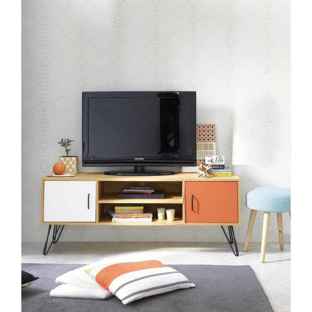 Meuble tv vintage en bois blanc et orange l 130 cm twist maisons du monde - Meuble tv maison du monde ...