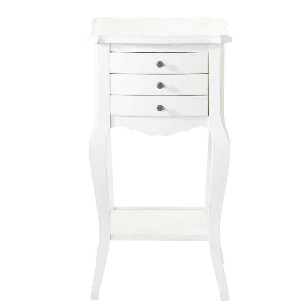 Table de chevet avec tiroirs en bois blanche l 37 cm for Table de chevet style romantique
