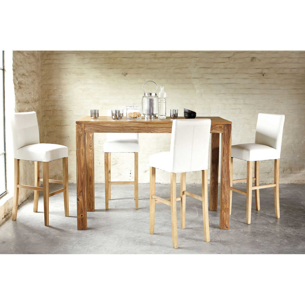 Chaise de bar imitation cuir et pacanier blanche boston for Table a manger industriel pas cher