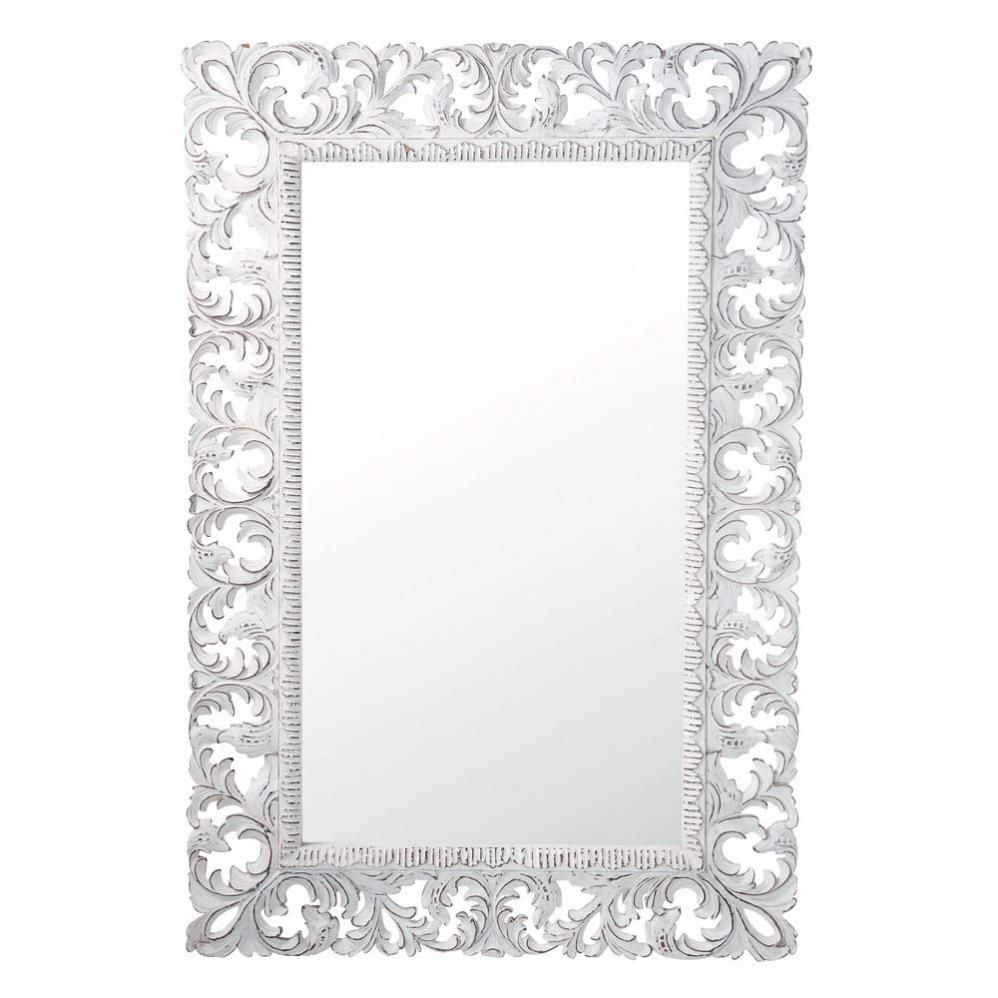 Miroir en manguier blanc h 140 cm komang maisons du monde for Miroir exotique