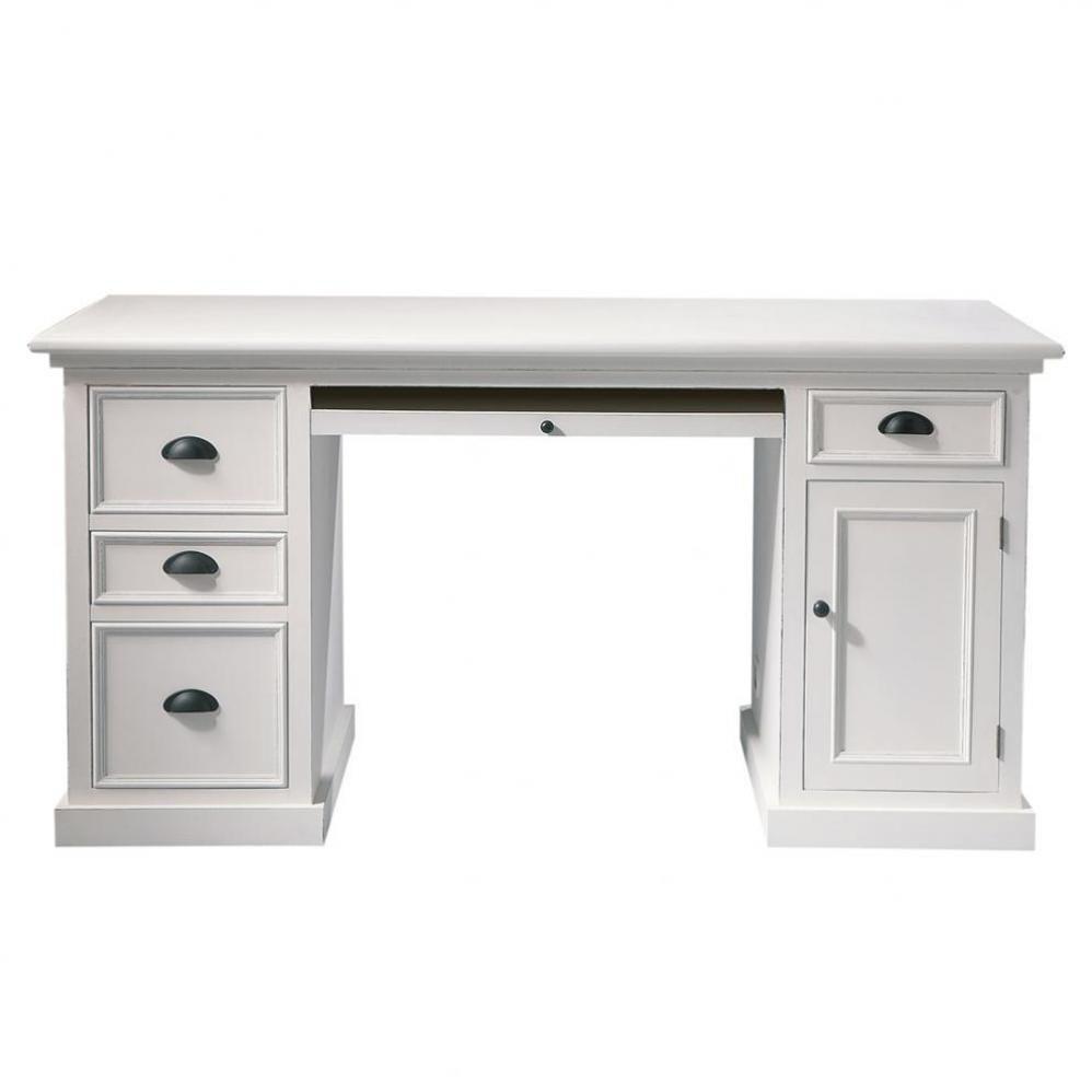 bureau en bois blanc l 150 cm newport maisons du monde. Black Bedroom Furniture Sets. Home Design Ideas