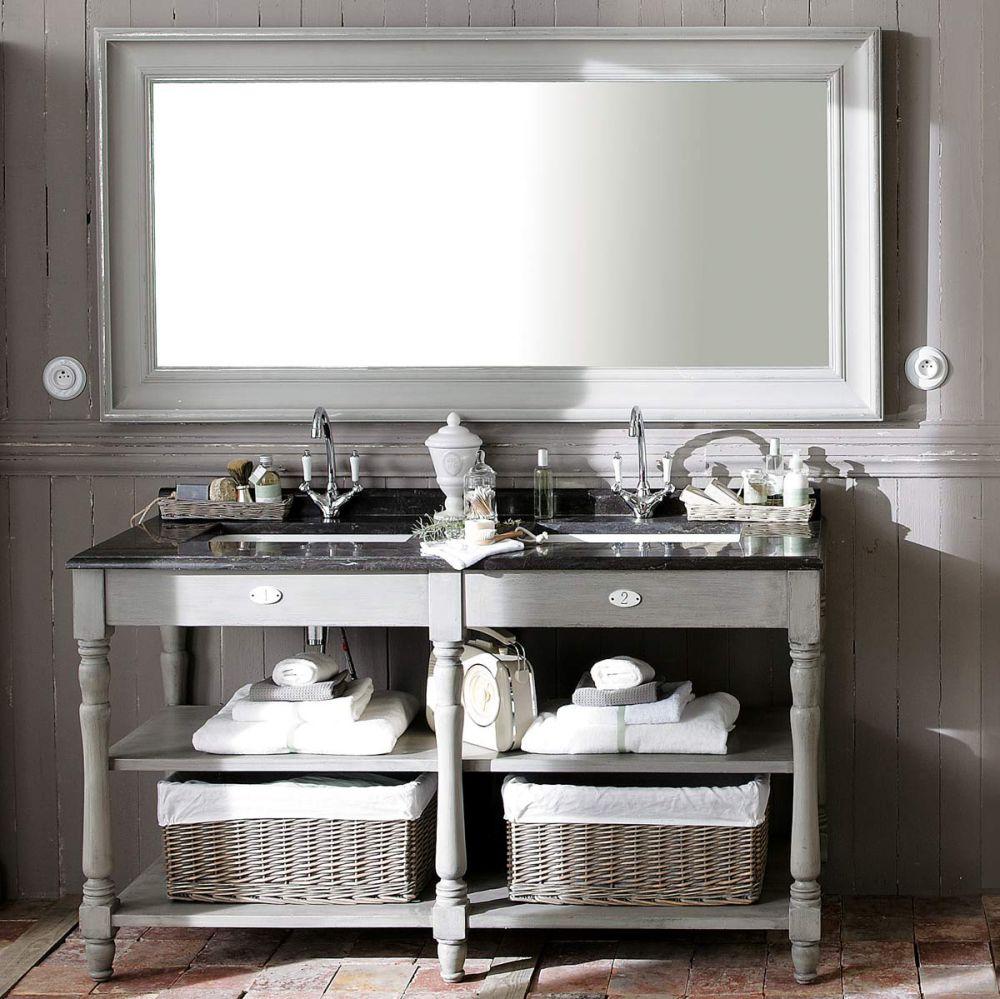 Miroir sully gris maisons du monde for Miroir bois gris