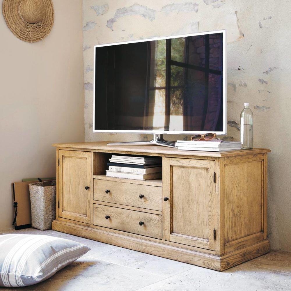 Meuble tv bois de ch ne atelier maisons du monde for Atelier du meuble