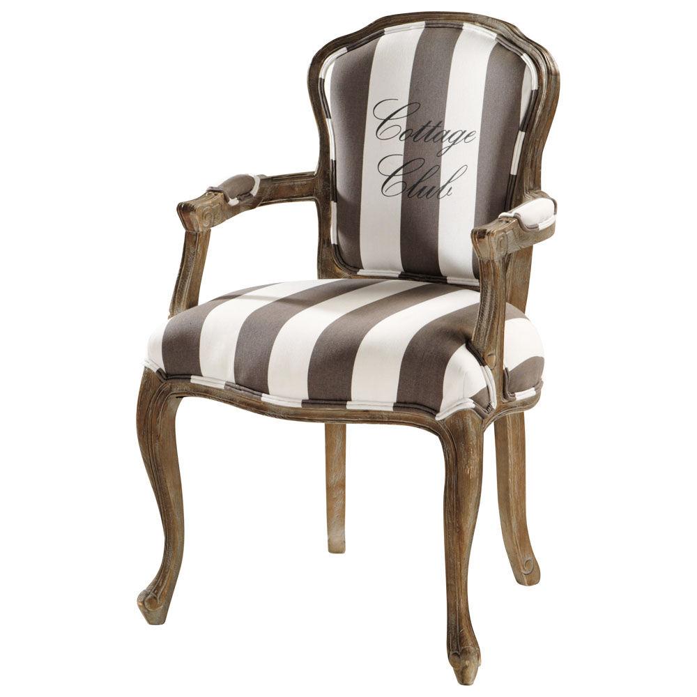 fauteuil rayures en coton gris et blanc cottage club maisons du monde. Black Bedroom Furniture Sets. Home Design Ideas