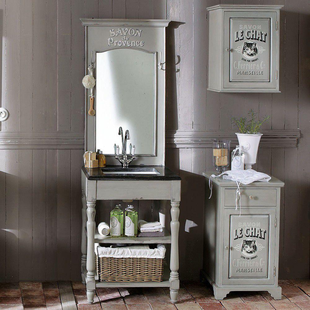 meuble vasque en bois et marbre gris clair l 65 cm saint. Black Bedroom Furniture Sets. Home Design Ideas