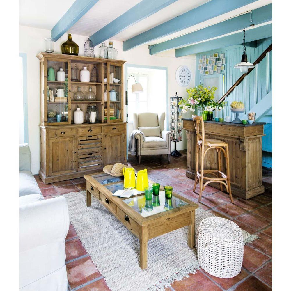 Mueble bar de madera reciclada pagnol maisons du monde for Mueble bar madera