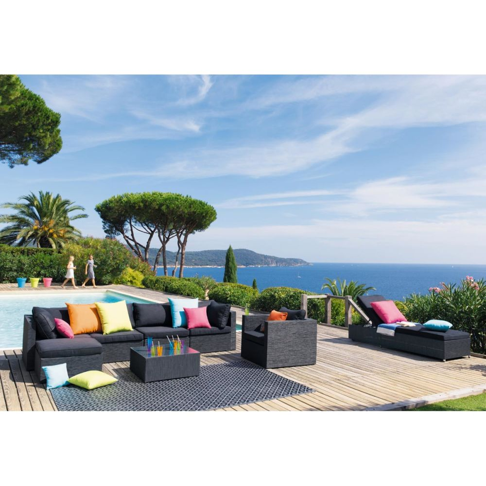 Fauteuil de jardin en tissu anthracite ibiza maisons du for Maison du monde exterieur