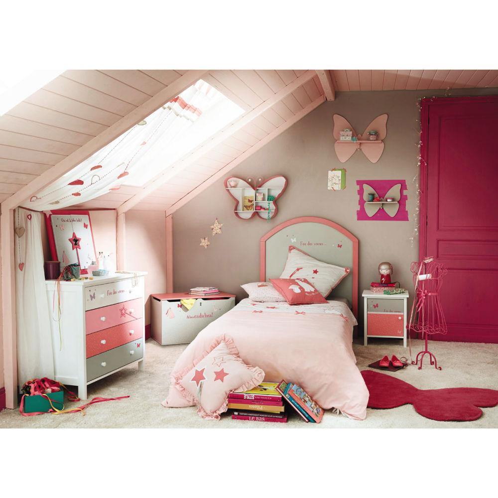 chevet enfant gris et rose stella maisons du monde. Black Bedroom Furniture Sets. Home Design Ideas